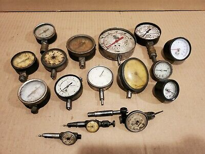 Lot Of 17 Vintage Dial Indicators Gauges Mitutoyo Binks Federal Sun For Parts