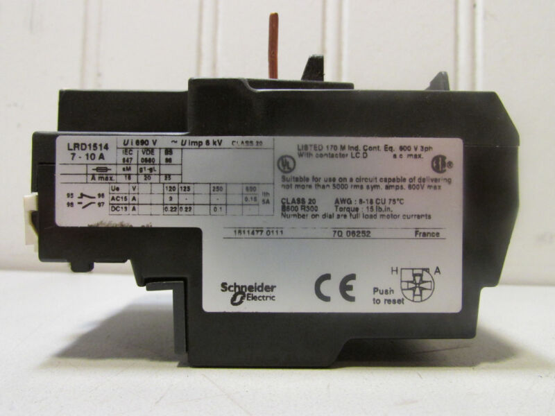 Schneider Electric LRD1514 Thermal Overload Relay 7-10A