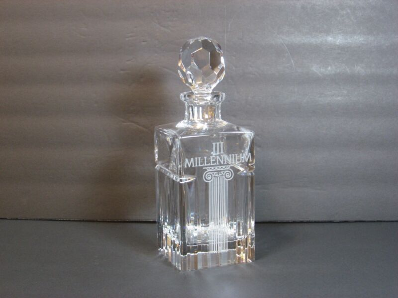"Mikasa lll Millennium Square Lead Crystal Decanter, Prism Ball Stopper, 10"" Rare"