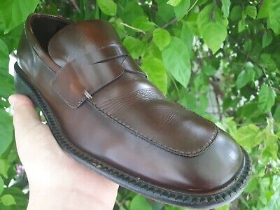 Vintage Prada Shoes Penny Loafers Mens Size 7.5 Leather Brown Made In Italy