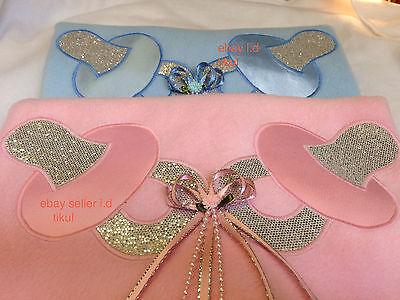 Pink, Blue or White Romany Baby Pram Fleece Blanket,Comforter with Bling Motifs