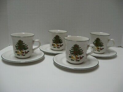 4 Sets Vitromaster? Christmas Tree Cups & Saucers Tree, Bear, Train, Ribbon
