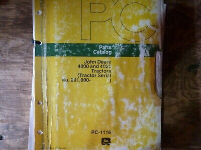 John Deere 4000 4020 Tractor Parts Catalog Manual Original Pc-1116 Sn 201000-up