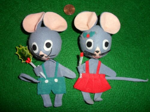 Vintage Christmas Set of Boy and Girl Felt Mice Tree Decoration made in Japan