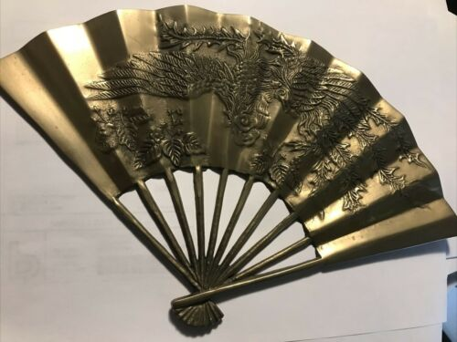 Vintage Chinese Solid Brass Decorative Fan Wall Decore