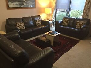 3 pieces brwon leather couch Watson North Canberra Preview