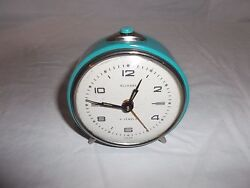 Vintage 1950s Retro 4 Jewel Teal Alarm Clock ALLEGRO made in USSR - Works Grea