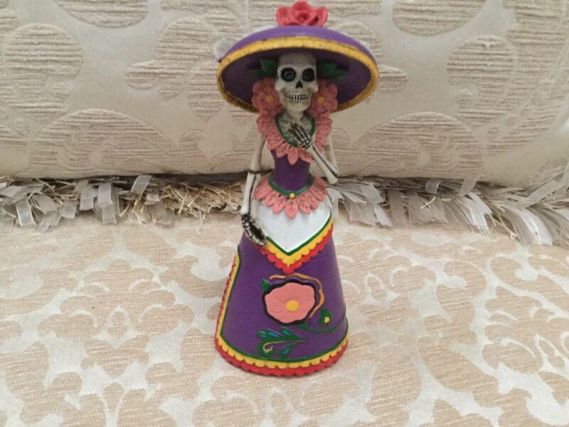 Day of the Dead Purple Senorita Mexican Skeleton Figurine Dia de Los Muertos