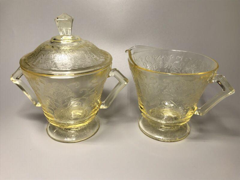 Hazel Atlas Yellow Depression Glass FLORENTINE #2 Poppy Creamer & Sugar With Lid