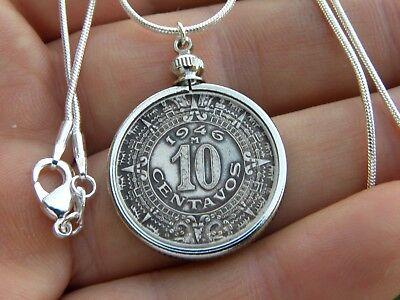 Vintage Aztec Calendar Mexican coin 10 centavos  handmade necklace silver chain