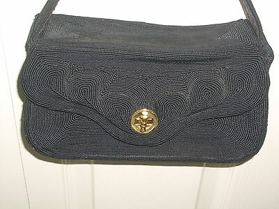 genuine vintage 1940s Blue/Black Gimp Corde Purse Evening Bag Clutch Handbag