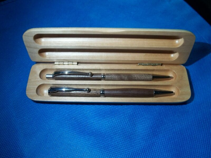 018) PEN AND PENCIL SET, HAND CARVED, JATOBA BROWN WOOD