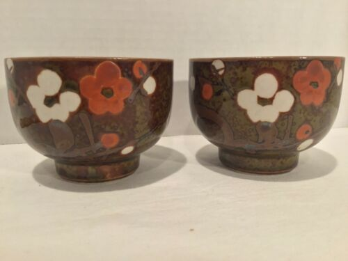 2 VTG JAPANESE HANDMADE HAND PAINTED SPECKLED GLAZE OVER GREEN POTTERY TEA CUPS