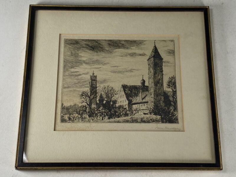Vintage Karl Schultheiss Original Etching Print SIGNED Ravensburg, Germany
