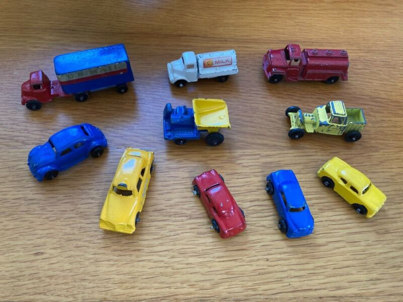 Lot of 10 Vintage Metal Toy US MAIL tractor-trailer, Tankers, Dumpers and Cars