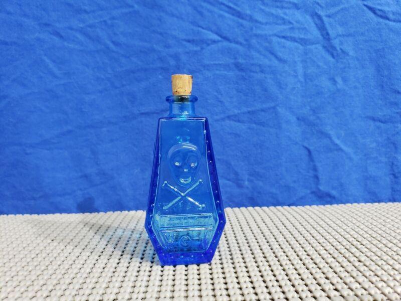 Vintage Wheaton Coffin Shaped Poison Glass Bottle Blue w/ Cork