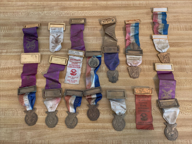 Fraternal Order of Eagles F.O.E. 1950's 21 Convention Badges, Pins, Watch Fobs
