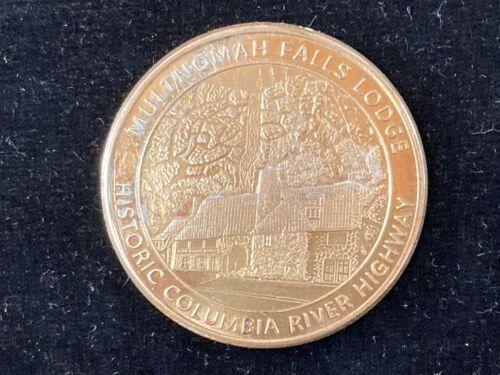"VINTAGE SOUVENIR MULTNOMAH FALLS GOLDEN DOLLAR SIZE COIN. 1 1/2"" DIAMETER"