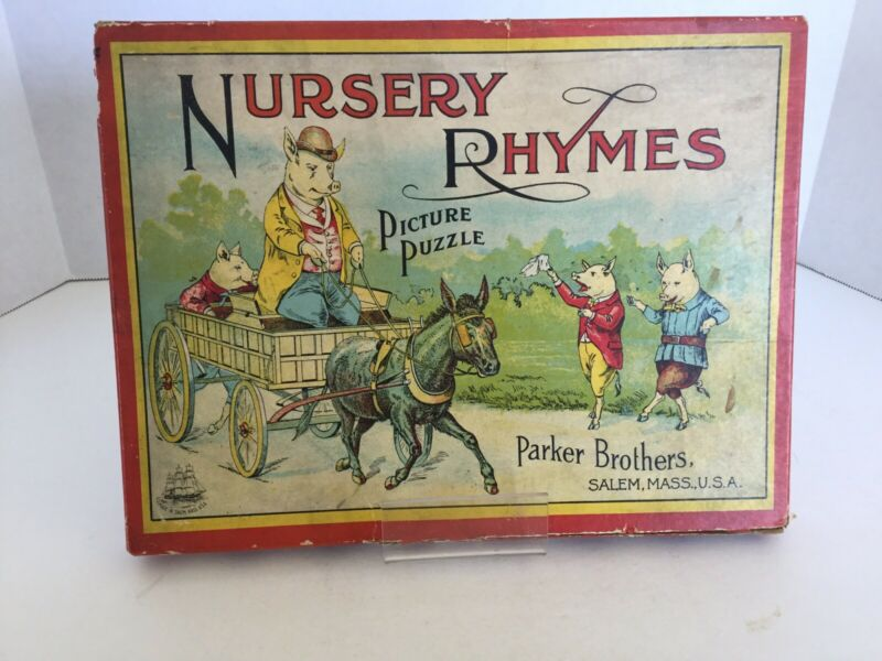 Vintage Antique Box Of 2 Nursery Rhyme Picture Puzzles By Parker Brothers