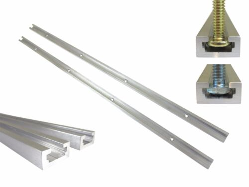 """2 Each T Track 24"""" Aluminum 3/4"""" x 3/8"""" for 1/4"""" & 5/16"""" T Bolts & 1/4"""" Hex Bolt"""