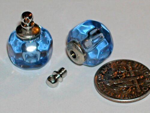 1 Crystal Ball Blue Perfume tiny miniature rice vial pendant bottle SCREW CAP