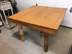 Antique 5-legged solid wood table