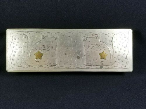 Vintage Thai Silver Metal Trinket Box, 2 Sitting Cats/Gold Stars, Hinged Lid