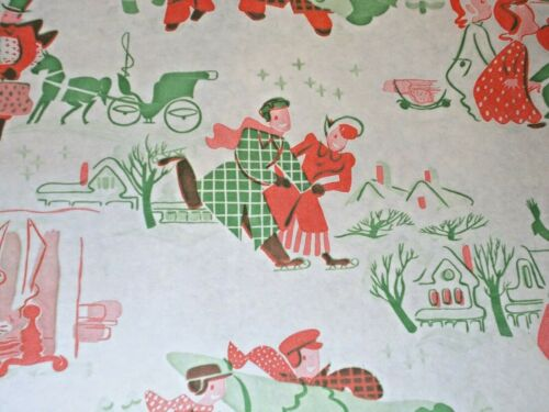 VTG CHRISTMAS WRAPPING PAPER GIFT WRAP 1940 ICESKATING COUPLES BUYING TREE NOS