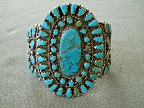 Vintage Native American Multi-Color Turquoise Cluster Sterling Silver Bracelet