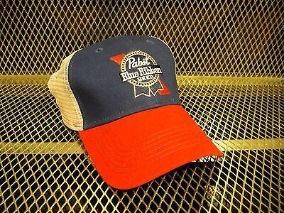 PBR PABST BLUE RIBBON Beer  NEW Sewn Logo ~ Snap Back Trucker Hat FREE KOOZIE R