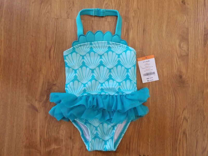 NWT Gymboree Girls Aqua Sea Shell Swimsuit 1 piece Toddler Baby 6-12 Months Tutu