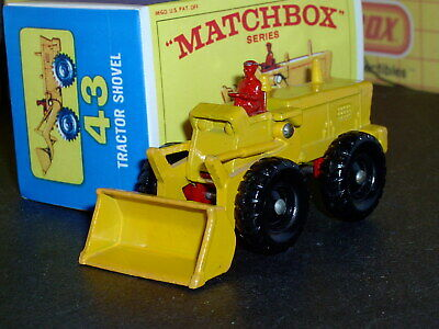 Matchbox Lesney Aveling Tractor Shovel 43 b2 yellow red SC5 NM & crafted box