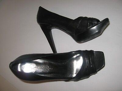JESSICA SIMPSON Black Leather Open-toe High Heels Size 6-1/2 6.5 B Very Good POC