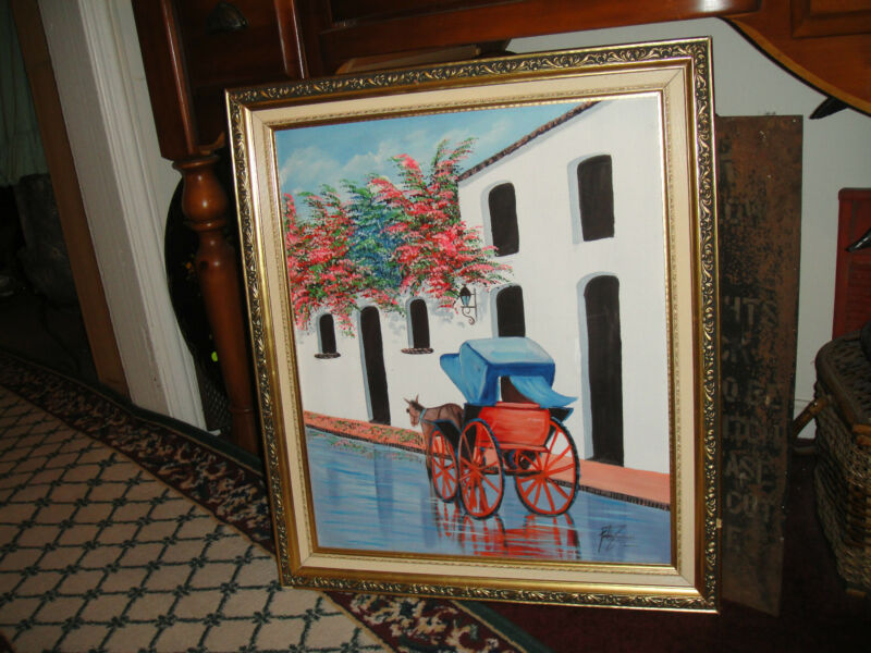 Superb Oil Painting On Canvas-Signed Pablo Zuyeras-Horse & Buggy-Spanish Look-02