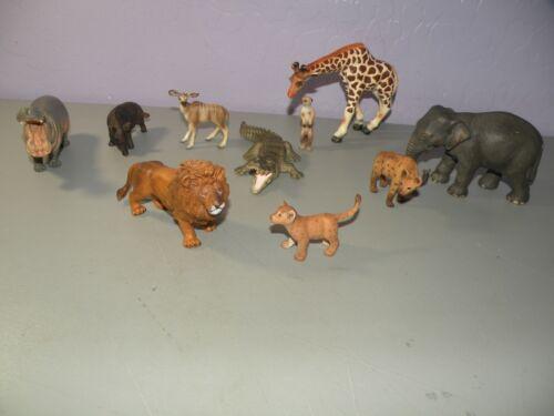 Schleich lot of 10 African AnimalsHyena Giraffe Elephant Hippopotamus Lion A++