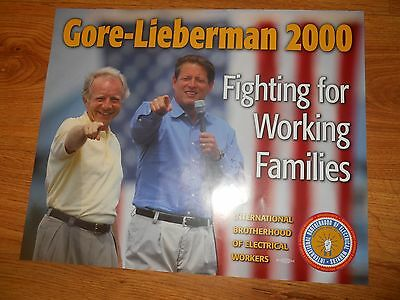 FOUR (4)  -   GORE and LIEBERMAN Election Posters 18 x 22  IBEW