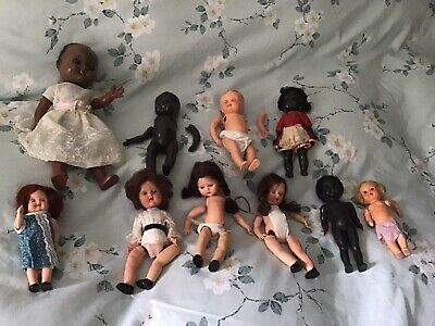 10 Vintage Dolls 5 Need Restringing .3 Sarold Dolls The Rest Made In England.