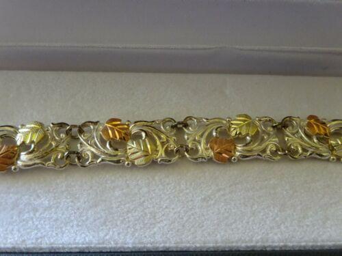 """vintage Black Hills Gold - 6 1/2"""" LEAF LINE BRACELET - Sterling/12K"""