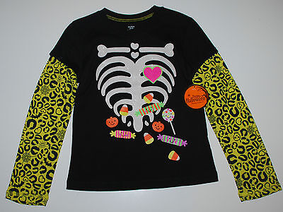 Halloween~Langarmshirt~USA~128-134~Skelett~schwarz~Amerika~Mädchen~Pullover~neu