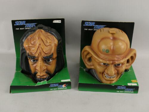 1993 Star Trek Next Generation Talking Worf & Ferengi Lunch Carry Storage Boxes