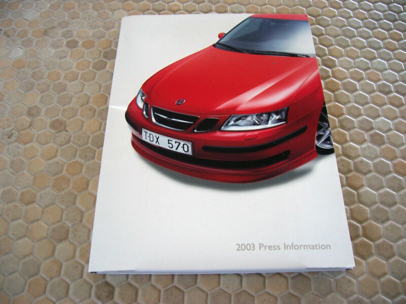 SAAB AUTOMOBILES OFFICIAL AUTOSHOW FULL PRESS KIT CD BROCHURE 2003 USA EDITION.