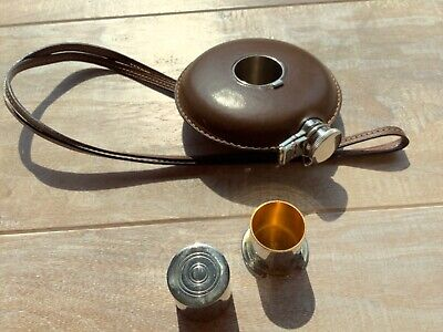 "Vintage 4"" GUCCI ROUND FLASK - leather wrap - 2 Shot Cups - 20"" Top Stitch Strap"