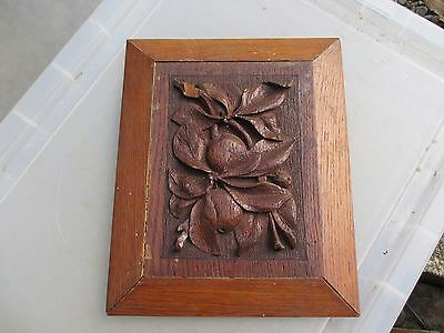 Vintage Wooden Panel Plaque Carved Wood Raised Fruit Leaf Leaves Old Antique