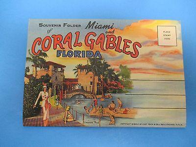 Vintage Souvenir Postcard Folder Florida Miami  Coral Gables S420