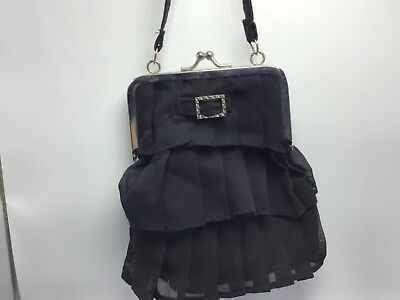 1950s Handbags, Purses, and Evening Bag Styles Vintage 1950's Handbag Black Ruffles  $10.00 AT vintagedancer.com