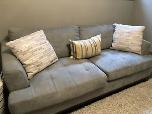 Blue/grey suede couch