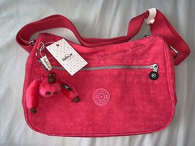 NEW! Kipling Sally Shoulder Crossbody Bag Vibrant Pink w/ Monkey Keychain HB6801