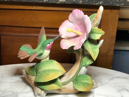 "Beautiful Porcelain Hummingbird By Andrea Sadek 9772 Large Pink Flower 7""x 6 1/2"