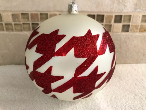 Large Department 56 Blown Glass Round Ornament with Red Glitter Decor