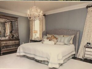 King upholstered headboard and bedding